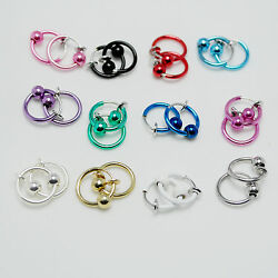 Small Clip On HoopLoopRing with Ball NON-PIERCED Earrings Many Colors Gift