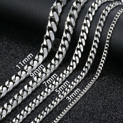 18quot; 36quot; Stainless Steel Silver Tone Chain Cuban Curb Mens Necklace 3 5 7 9 11mm $15.57