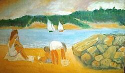 Mother amp; Children on Beach View from No.Haven N.Y. Oil Painting August Mosca $750.00