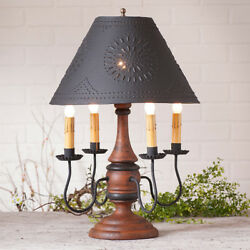 Jamestown Wood Table Lamp with Punched Tin Shade in 6 Color Choices Country Lamp $337.20