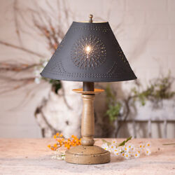 Butcher Wood Table Lamp with Punched Tin Shade in 5 Color Choices Country Lamp $173.80