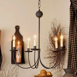 Large 5 Arm Metal Country Chandelier in Textured Black. Country Hanging Light $263.29