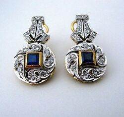 UNIQUE  ART DECO STYLE 18KT GOLD Diamon EARRINGS HAND MADE