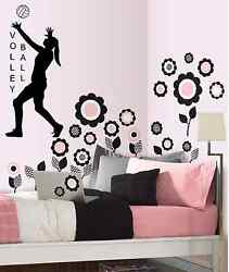Volleyball Girls wall decal sports decal girls volleyball Black or White $8.95
