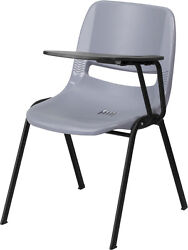 Flash Furniture Gray Ergonomic Shell Chair with Left Handed Flip-Up Tablet Arm