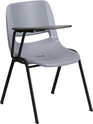 Flash Furniture Gray Ergonomic Shell Chair with Right Handed Flip-Up Tablet Arm