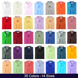 Berlioni Italy Mens Dress Shirt French Convertible Cuff Solid 17 Colors 12 Sizes $19.95