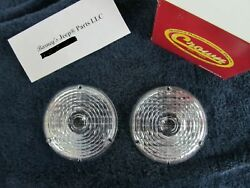 FITS JEEP CJ5 CJ6 C101 COMMANDO FRONT SIGNAL LENS SET PAIR 1969 - 1976 12  $14.75