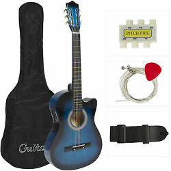 Electric Acoustic Guitar Cutaway Design With Guitar Case Strap  Blue New