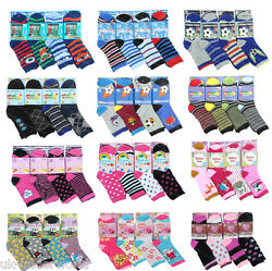 Girls Boys Socks 6 Pairs Childrens Cotton Blend Novelty Kids Character Designs GBP 3.49