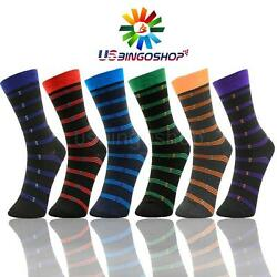 6 Pairs Ydst7 New Cotton Men Striped Style Dress Socks Size 10 13 Multi Color $10.95