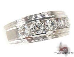 Mens Diamond Ring Round Cut G Color SI1 14k White Gold 1.00ct