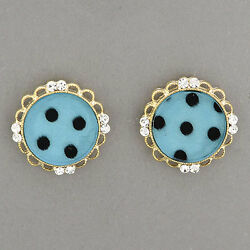 Gold Clear Stone Flower Design Teal Color  Stud Style Earrings Made in S.Korea