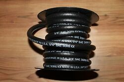 1 4quot; X 25#x27; GAS FUEL LINE HOSE MADE IN USA THERMOID NEW SAE J30R6 BLACK RUBBER $22.79