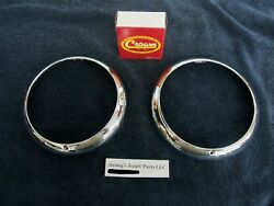 WILLYS KAISER AMC JEEP CHROME HEADLAMP BEZELS PAIR 1948 - 1971 NEW NICE! $49.95