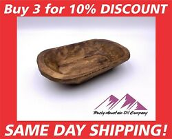 CARVED WOODEN DOUGH BOWL RUSTIC TRAY WOOD TRENCHER 8 10quot; ANTIQUE VINTAGE CANDLE $9.95