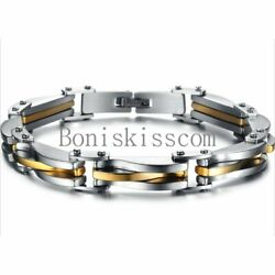 Two Tone Stainless Steel Men's Chain Link Bracelet Wristband Cuff Bangle 8.66