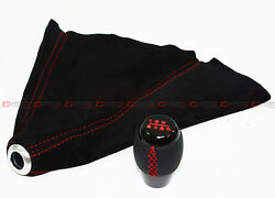 M10 X 1.5 LEATHER 6 SPEED SHIFT KNOB RED STITCHING BLACK SUEDE BOOT FOR HONDA $28.99