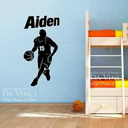 Basketball Player Dribbling Decal Custom Name Wall Personalized Vinyl Sticker $33.99