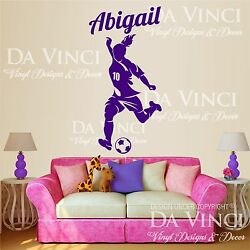 Soccer Player Decal Custom Girl Name Wall Personalized Vinyl Sticker Decor B $23.99