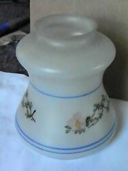ANTIQUE SHADE W BLUE LINES AND PINK FLOWERS amp; BRANCHES PAINTED EXTERIOR 3068 $35.00