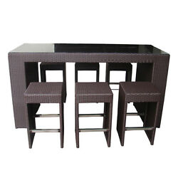 OUTDOOR WICKER PATIO FURNITURE- 7 pc. High Top  Tall Dining Set in Black Wicker
