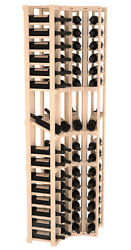 60 Bottle 4 Column Display Corner Wine Cellar Rack Kit in Pine. Made in USA.