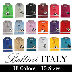 Boltini Italy French Convertible Cuff Solid Mens Dress Shirt All Colors amp; Sizes $16.80