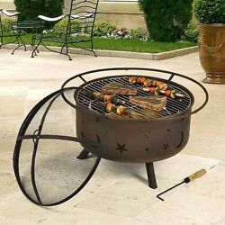 fire pit patio fireplace wood burning grill outdoor steel backyard portable
