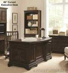 Andover Stratford 66 Inch Curved Executive Desk Hardwood Home Office Furniture  $1,548.00