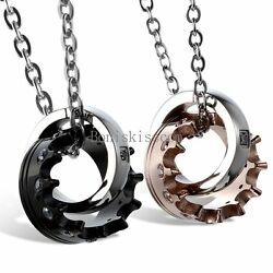 His and Hers Stainless Steel  Queen Crown Couple Ring Charm Pendant Necklace