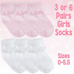 Baby amp; Girls Socks Soft Breathable Cotton Rich Cute Frilly Lace In 3 amp; 6 Bundle GBP 5.49