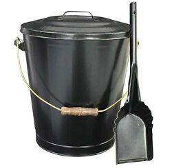 Outdoor Ash Container Bucket with Shovel Set for Coal Fireplace Firewood Black