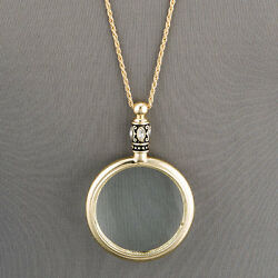 Antique Gold Chain 5 X Magnifying Glass Design Pendant Necklace $14.99
