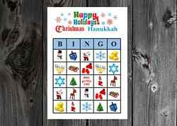 Christmas Hanukkah Happy Holiday Party Game Bingo Cards on Card Stock 10 20 30ct $6.75