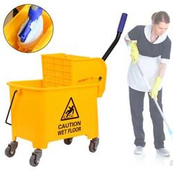 5 Gallon Commercial Wet Mop Bucket amp; Wringer Combo Yellow Janitorial 20L