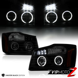 For 2004-2015 Nissan Titan [SINISTER BLACK] Halo LED Projector Headlights Lamps $119.53