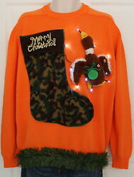 UGLY Xmas Sweater Duck Hunter SIZE Mens Large Lights Up #15D3 *