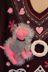 Ugly Christmas Sweater VS Pink Puppy Dog SIZE Large Lights Up Snowflakes *