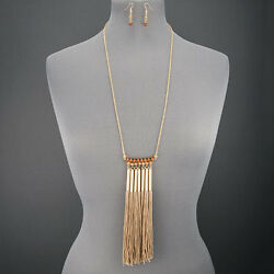 Long Gold Chain Wood Faceted Stone Beads Multi Tassel Necklace With Earrings