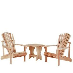 Cedar Adirondack Lounge Chair Set Side Table Furniture Wood New Piece Patio Yard