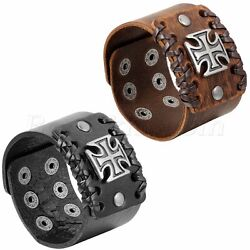 Men#x27;s Retro Punk Rock Wide Leather Strap Bracelet Adjustable Cross Cuff Bangle $7.49