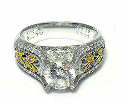 Simon G Art Deco Engagement Semi-Mount Ring Platinum 18k Gold (.68 ct VS SZ 6.25