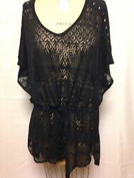Dotti Studded Shoulder Lace Cover Up L Black 7420918 NWT $39.99