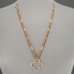 Gold Finish Chain Wood Seed Bead Open Clover Designer Inspired Pendant Necklace