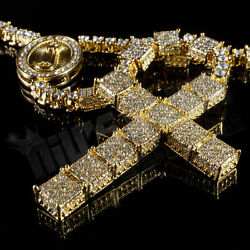 14k Gold CZ Bling Out Iced ROSARY SQUARE Jesus Cross Pendant Men Necklace Chain $32.99