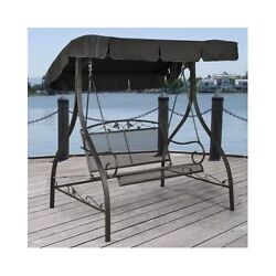 Outdoor Patio Swing Porch Furniture Deck Adjustable Canopy 2 Seats Wrought Iron