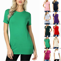 SHORT SLEEVE CREW NECK Basic Women T Shirt Cotton Long Top Fitted Plain Stretch $8.95