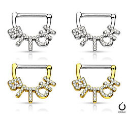 PAIR Crystal Paved Bitch Design Nipple Clickers Shields Rings Body Jewelry $9.99