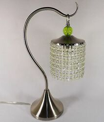 Vintage Table Lamp Glass Beaded w Lucite Finial? Swiveling Goose Neck Nickel $55.97